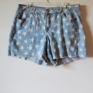 Lane Bryant Raw Hem Star Design Denim Shorts